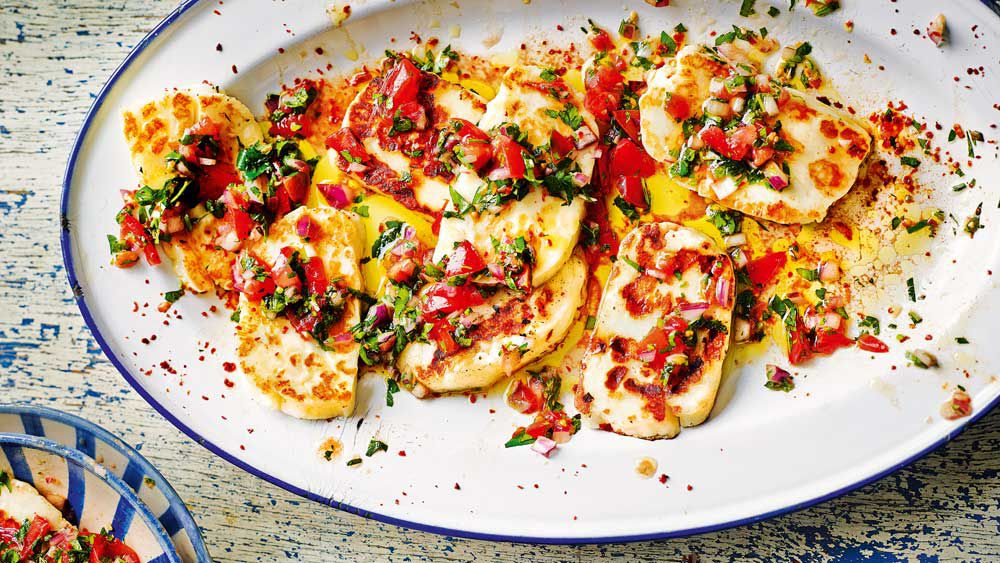 Fried haloumi with herby salsa. Image: Turkish Delights by John Gregory-Smith (Kyle Books)