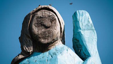 The statue stood near Melania Trump's hometown in Slovenia