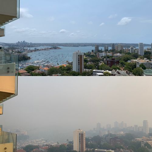 This is what the usually bright Edgecliff looks like, before and after the heavy smoke.