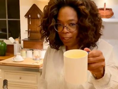 Oprah tries out super latte mix