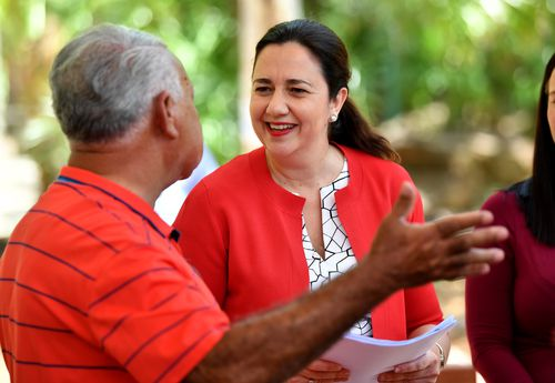 Premier Annastacia Palaszczuk (right) is seen at the Dreamtime Cultural Centre in Rockhampton during the Queensland Election campaign today. (AAP)