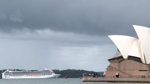 The MSC Magnifica cruise ship anchored in Sydney, one week ago, on March 16.