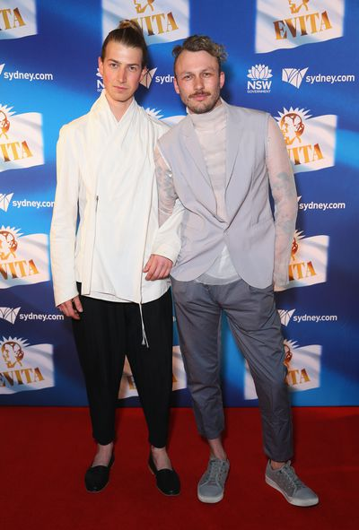 Model and son of Richard Wilkins, Christian Wilkins with Andrew Kelly at the premiere of <em>Evita</em>, Sydney Opera House.