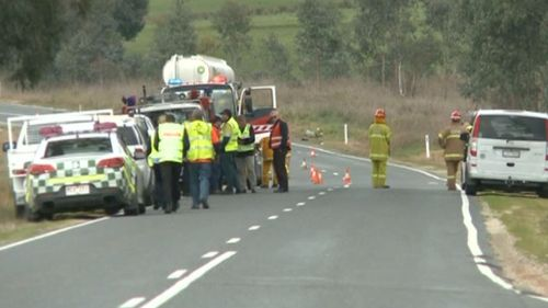 The scene of a crash involving two cars and a fuel truck south of Wodonga today. Picture: 9NEWS