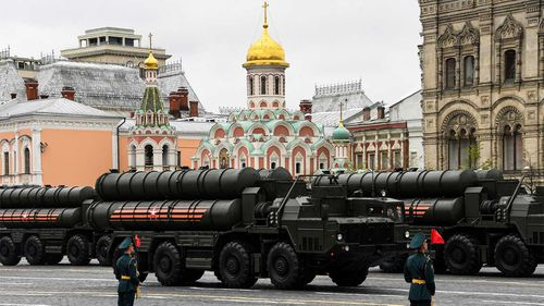 Russian missiles on display at a Victory Day parade.