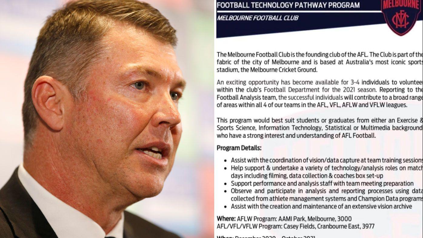 Melbourne Demons back-track over 'poorly-worded' job advertisement after backlash