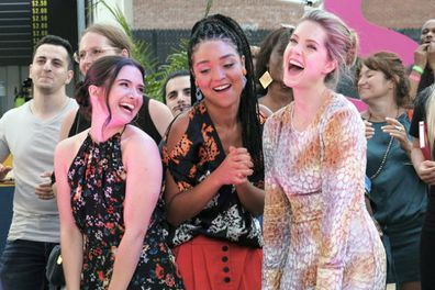 Katie Stevens, Aisha Dee and Meghann Fahy in a scene from The Bold Type.