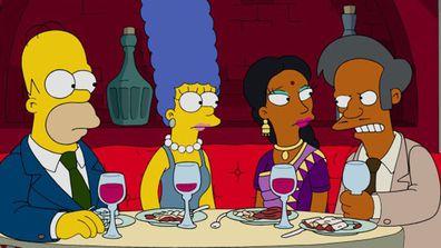 Homer Simpson, Marge Simpson, Manjula and Apu