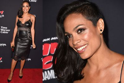 Meow! Rosario Dawson opts for sexy black leather!