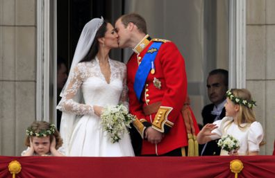 As Prince William shared a kiss with his new wife on the balcony of Buckingham Palace, bridesmaid Grace van Cutsem, covered her ears.
