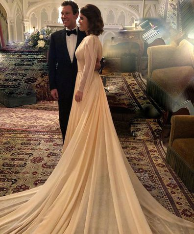 Jack Brooksbank and Princess Eugenie before their evening wedding reception in Zac Posen