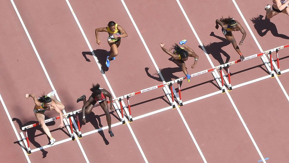 Michelle Jenneke (far left) finished sixth in her heat. (AFP)