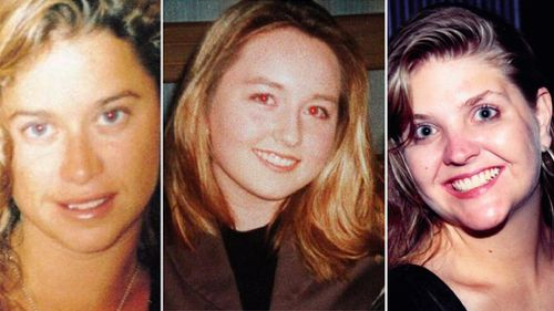 Ciara Glennon (left) and Jane Rimmer's (right) bodies were found in bushland, while Sarah Spiers' body has never been found.