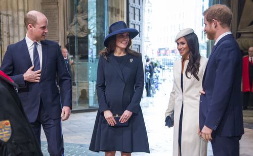 Meghan and Harry chat to William and pregnant Kate before the service. Picture: PA/AAP