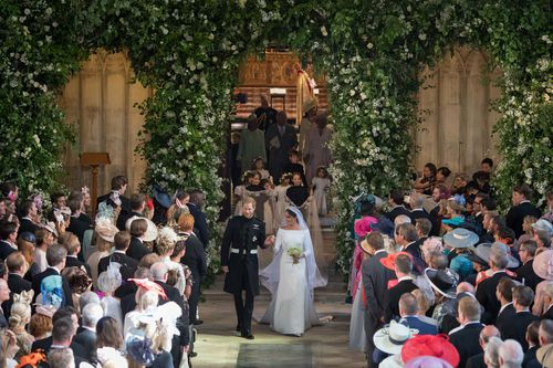 More than 100,000 people flocked to Windsor Castle for the wedding. (AAP)
