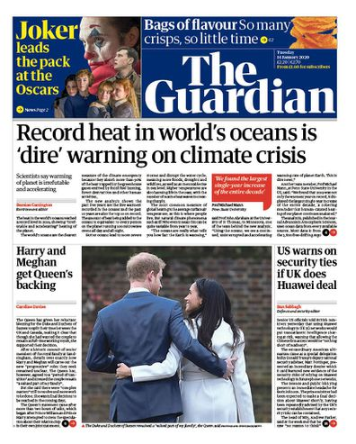 The Guardian UK front pages Prince Harry Meghan Markle royal exit