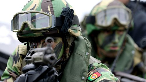 Portugese soldiers in the 2015 Trident Juncture NATO exercise.