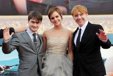 Daniel Radcliffe, Emma Watson and Rupert Grint attend the World Premiere of Harry Potter And The Deathly Hallows Part 2 in Trafalgar Square on July 7, 2011 in London, England.