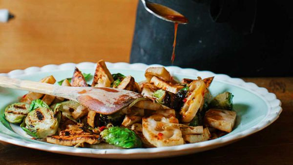 Hetty McKinnon's chargrilled Brussels sprouts with lotus root and sweet marinated tofu
