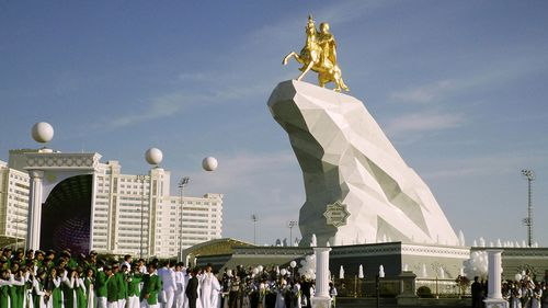 A gold statue of Gurbanguly Berdymukhamedov in the former Soviet nation of Turkmenistan.