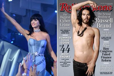 "Now here's something to make you roar: Katy Perry and Russell Brand got matching Sanskrit arm tattoos meaning ""Go With The Flow"" after their 2010 engagement.<br><br>They split after 14 months of marriage in December 2011... and both have opted to keep their tatts! At least they didn't get each other's names...<br><br>Images: Getty/Rolling Stone"