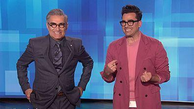 Dan and Eugene Levy host The Ellen DeGeneres Show.