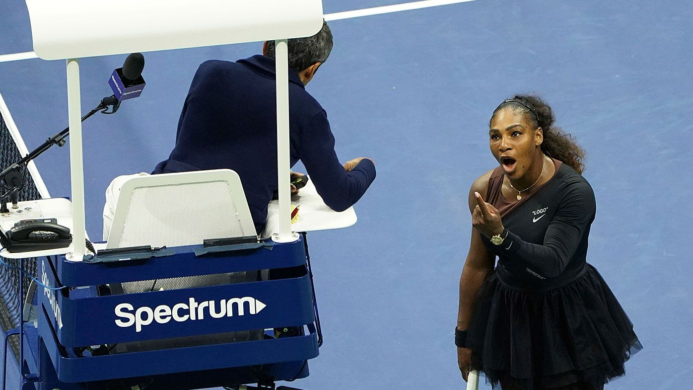 Serena Williams argues with the chair umpire Carlos Ramos during a match against Naomi Osaka