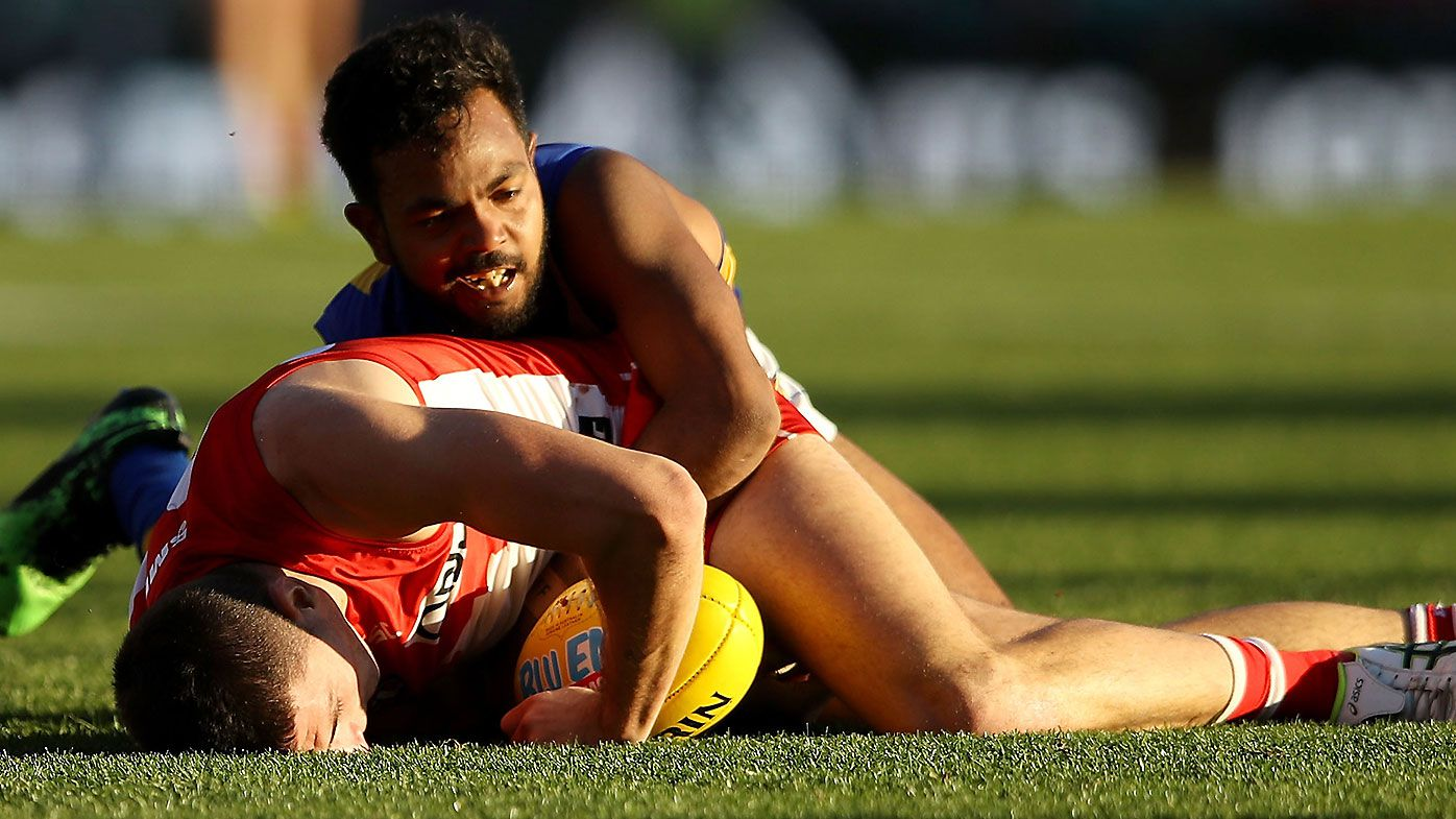West Coast star Willie Rioli facing nervous wait after sling tackle on Sydney's Colin O'Riordan