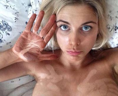 Made In Chelsea's Ashley James shows why it's important to shower after a spray tan