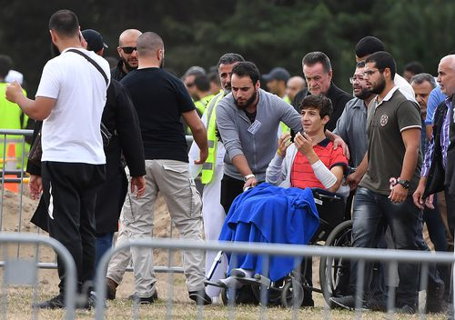 13-year-old Zaed attended the funeral visibly wounded.(AAP Image/Mick Tsikas)