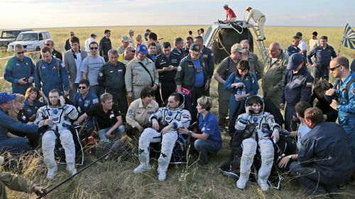 International Space Station astronauts land in Kazakhstan