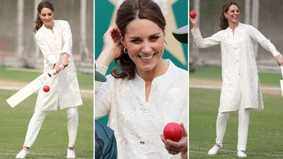 Kate Middleton is all smiles playing cricket in Pakistan, October 2019