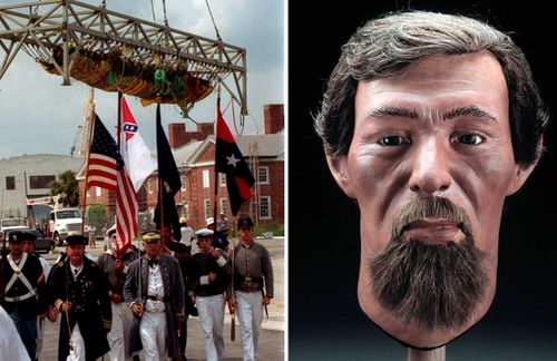 The raising of the Hunley in 2000, and a reconstruction of the face of crewman James Wicks (Photos: AP).