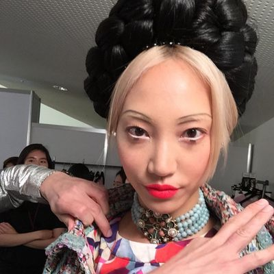 <p>Model Soo Joo Park before opening the show.</p>
