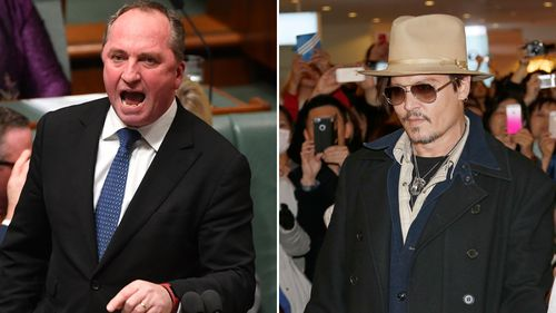 Mr Joyce last made a segment on Oliver's show when he warned Johnny Depp his pet dogs, Pistol and Boo, would have to be euthanised for being brought into Australia illegally if he didn't return them to California (AAP).