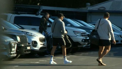 Sharks players did not speak as they entered training this morning.