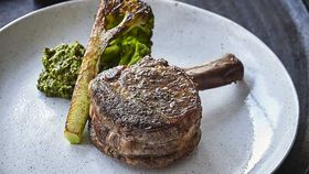 "Mark Best's veal ""chop"" and broccoli mole"
