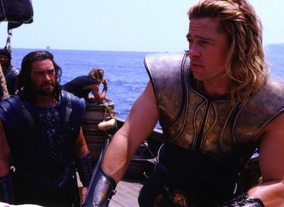 A long-haired Brad beefed up for his role as ancient Greek warrior Achilles in the 2004 film Troy.