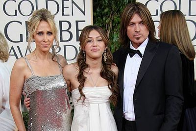 """<b>Miley Cyrus's parents</b><P><br/>Billy Ray Cyrus says his daughter's fame """"destroyed"""" his family and he certainly has his regrets about leading her into a life of showbiz. He's been accused of letting his daughters run wild (younger daughter Noah is a shocker as well) and the stress of having a superstar in the family has ultimately led to divorce for Billy Ray and Tish.<br/>"""