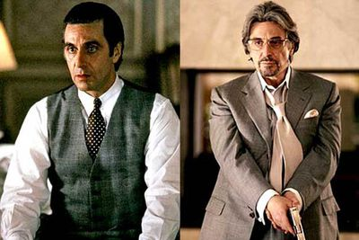 "<B>Oscar winner:</B> <I>Scent of a Woman</I> (1992). The role that finally won Pacino an Oscar. He played the blind Lieutenant Colonel Frank Slade, a man with a taste for the finer things in life, and the finer points of violence. ""Hoo-ha!""<br/><br/><B>Stinker:</B> <I>Gigli</I> (2003). A film that's universally despised, and that won the Razzie Award for worst comedy of the last 25 years, Pacino plays Starkman, whose only saving grace is that he kills another member of the woeful cast."