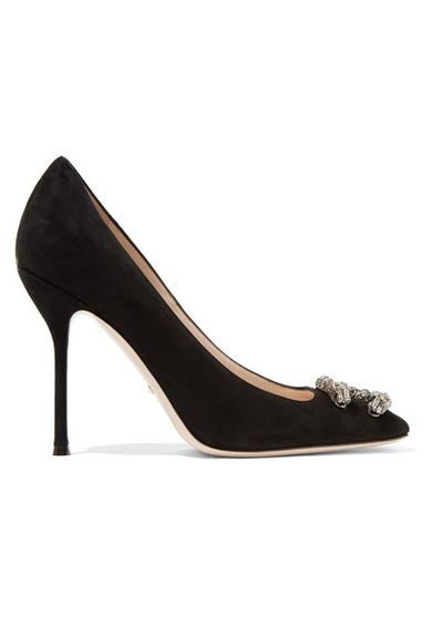 """<a href=""""https://www.net-a-porter.com/au/en/product/714148/gucci/dionysus-embellished-suede-pumps"""" target=""""_blank"""">Gucci embellished suede pumps, $975.</a>"""