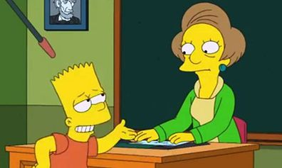 Mrs Krabappel and Bart in The Simpsons.