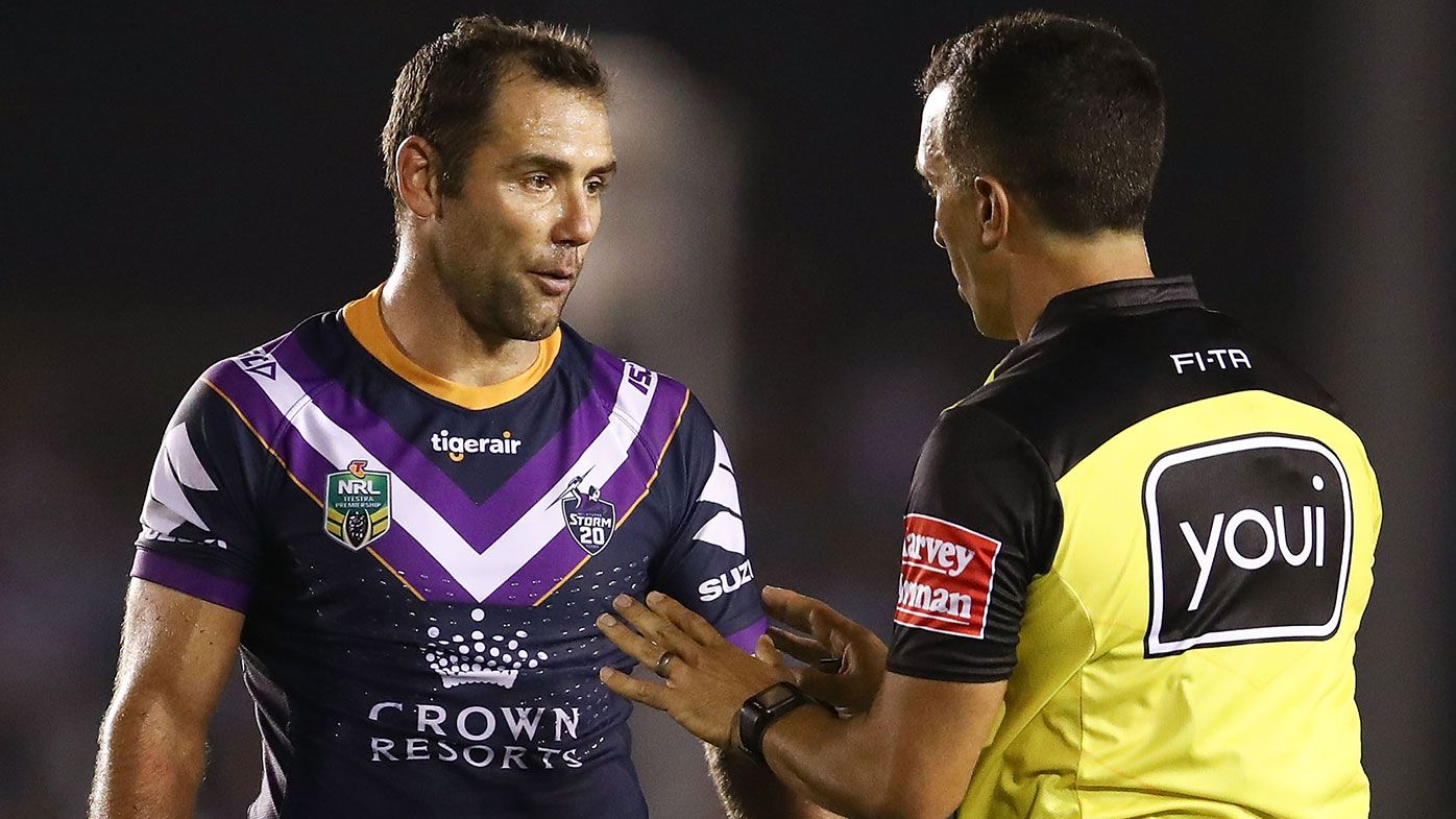 Cameron Smith of the Storm speaks with Referee Matt Cecchin