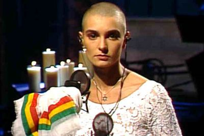 "<B>The scandal:</B> In 1992, shaven-headed Irish siren Sinead O'Connor ended a performance on <I>SNL</I> by tearing up a photo of Pope John Paul II, then sang the word ""evil"" before urging people to ""fight the real enemy.""<br/><br/><B>OMG factor:</B> Heads exploded. As a general rule, people don't give prominent religious leaders that kind of sass on live television. Catholics around the world revolted, though O'Connor has not mellowed since."