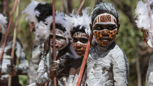 The prince watched a singing and dance procession at Mt Nhulun. (AAP)