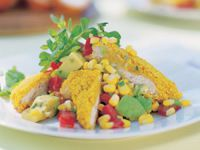 Spicy couscous chicken with fresh corn salsa
