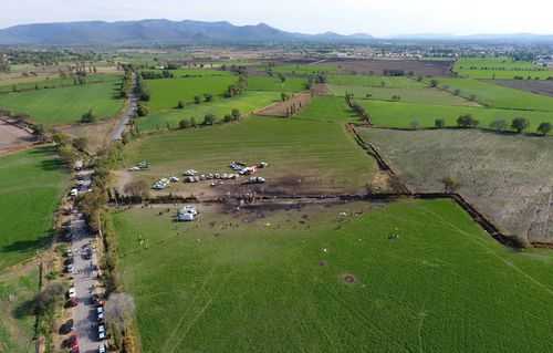 The ground is scorched where an oil pipeline exploded in Tlahuelilpan, Hidalgo state, Mexico.