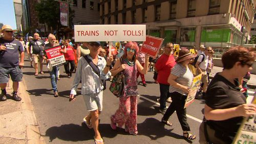 Premier Gladys Berejiklian bore the brunt of the protester's rage over the state of Sydney's buses, trains and roads. (9NEWS)