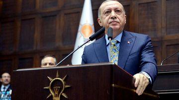 Turkish President Recep Tayyip Erdogan addresses the parliament in Ankara.