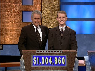 Ken Jennings and Alex Trebek